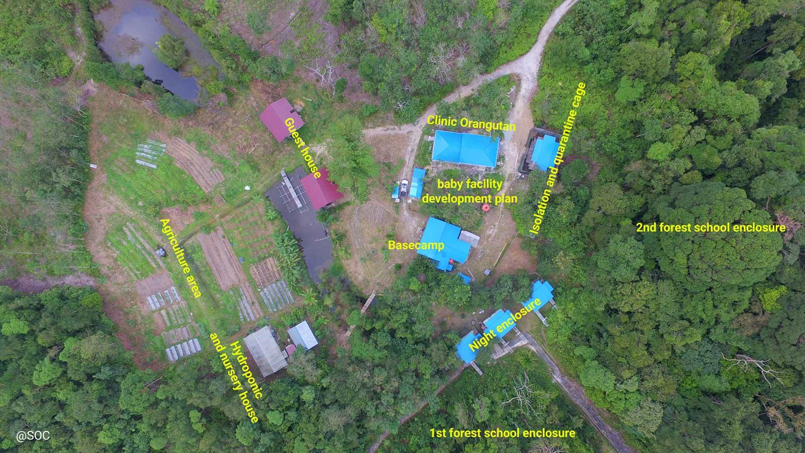 Het oefenbos en de verschillende faciliteiten in Jerora | © SOC